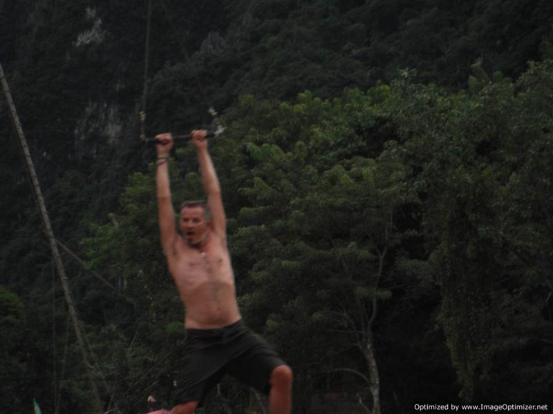 Vang Vieng tubing - Bad Tarzan impression!
