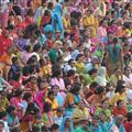 Colourful crowds at border