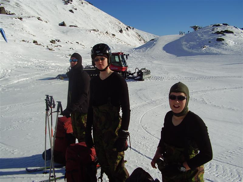 Me in the middle, modeling our flash new ski helmets
