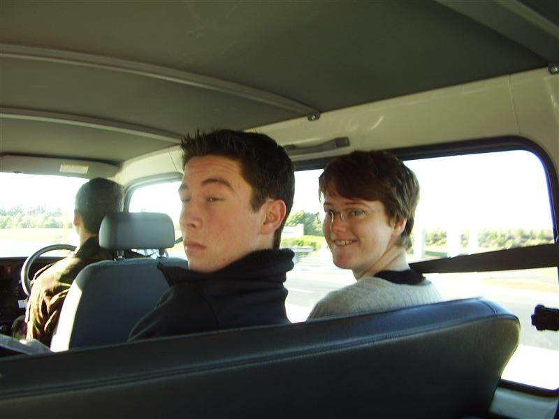 That's me on the right. In the van between Queenstown and Christchurch