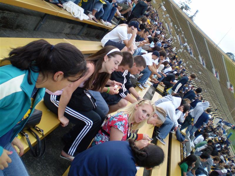 Friends at the football stadium