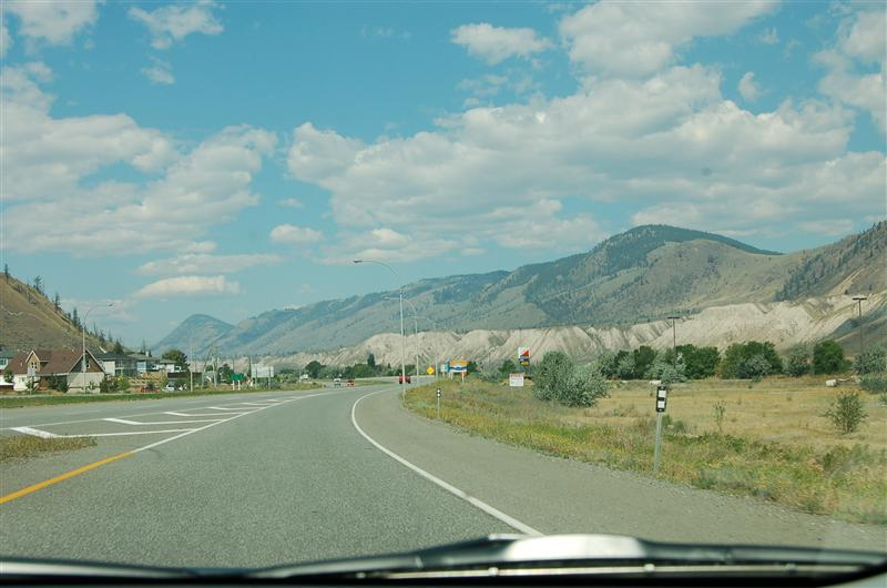 Huge rolling hills with exposed flanks outside Kamloops