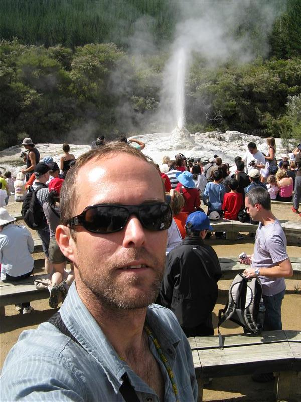 Tim in front of the geyser