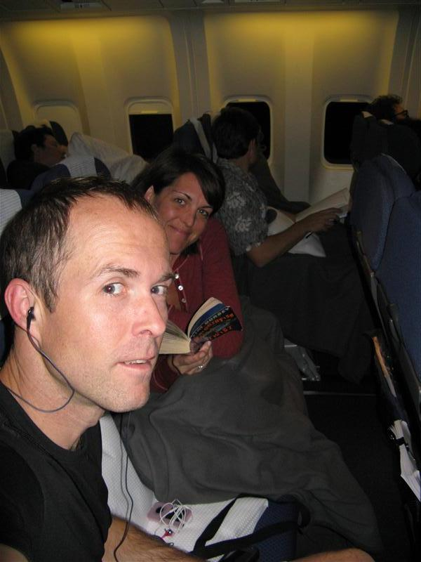 Tim and Jen on the 11 hour flight to Fiji