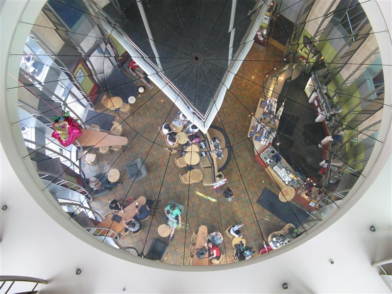 Looking up at Starbucks.... can you spot us?