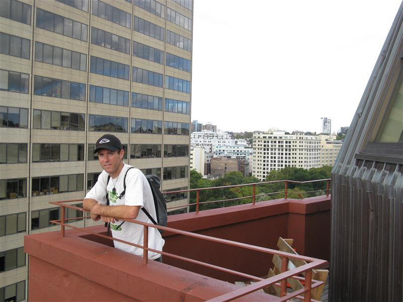 Tim on top of the YHA in downtown Sydney