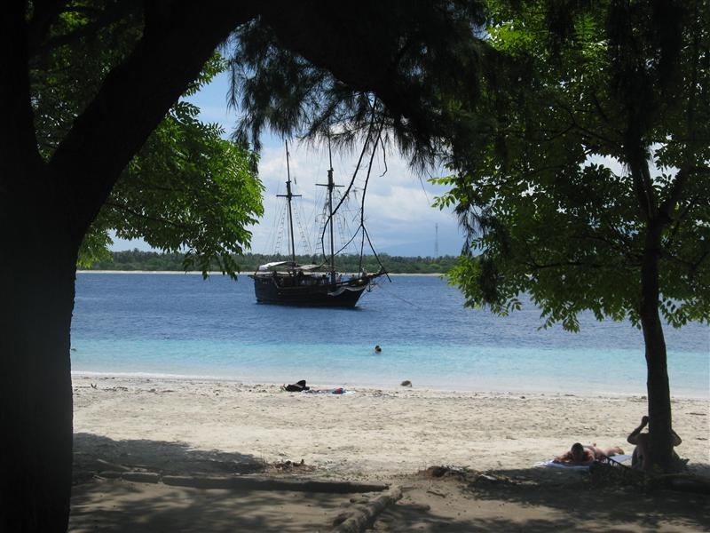 A cool looking boat off the shore of Gili T.