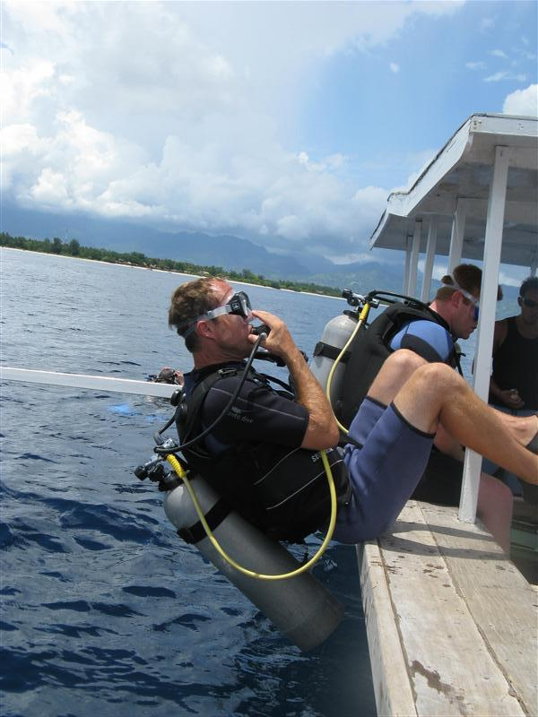 Tim goes for a deep dive off Gili T.