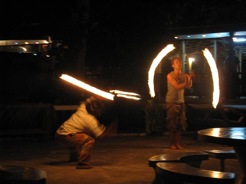 Fire spinning at Coral Bay Bungalows in Haat Khom