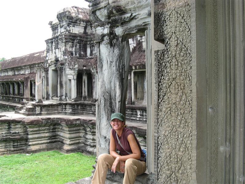 Taking a break in the morning shade at Angkor Wat