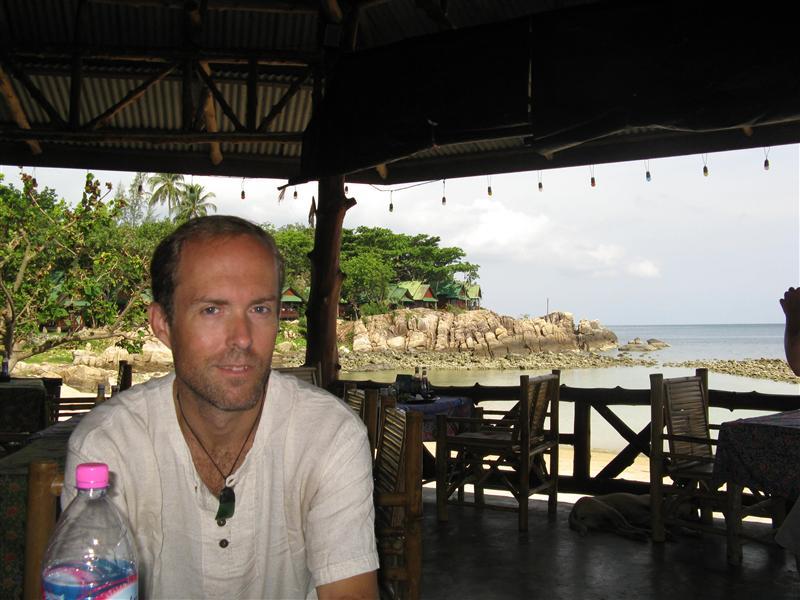 Tim enjoys his fruit and yogurt pancake at Ocean View Hotel