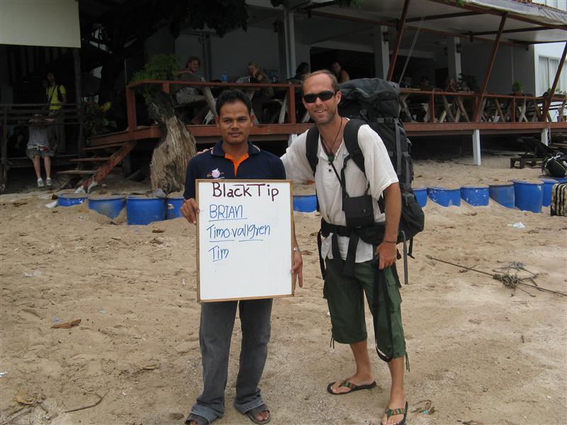 """Mr. Tim"" getting off the boat in Ko Tao"