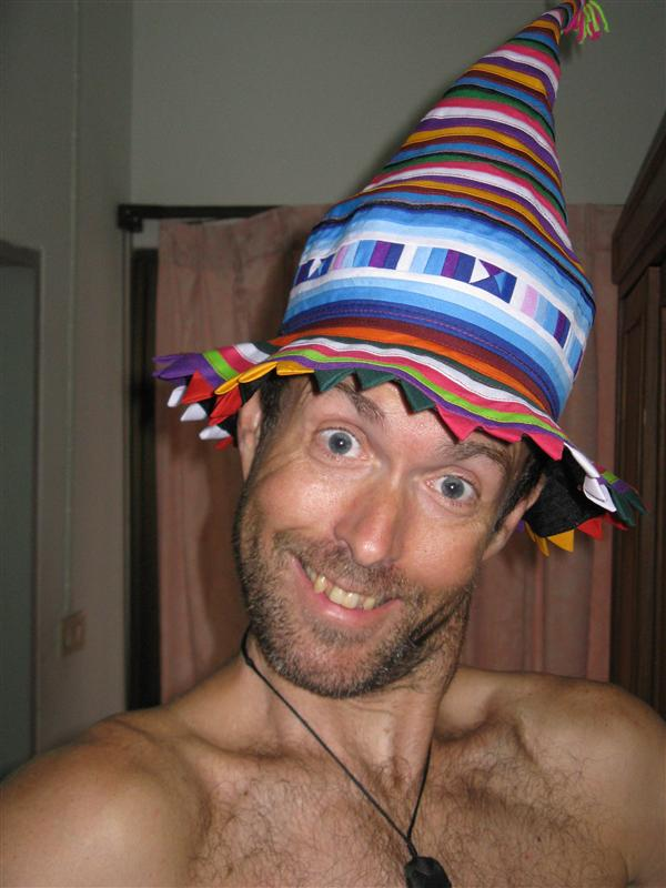 Tim gets crazy with his new hat from the Tribal people