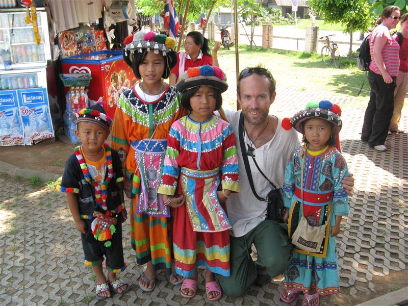 Tim get's a photo op with some hill tribe children