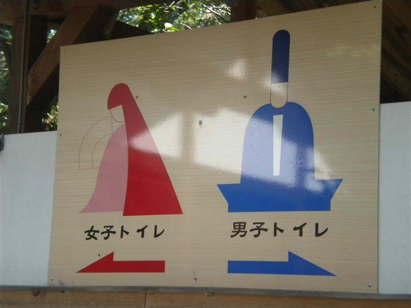 Toilet sign at a shrine
