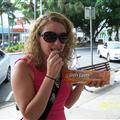 Eating my very first Tim-Tam! Although they were good, I don't think I'll become addicted like others do!