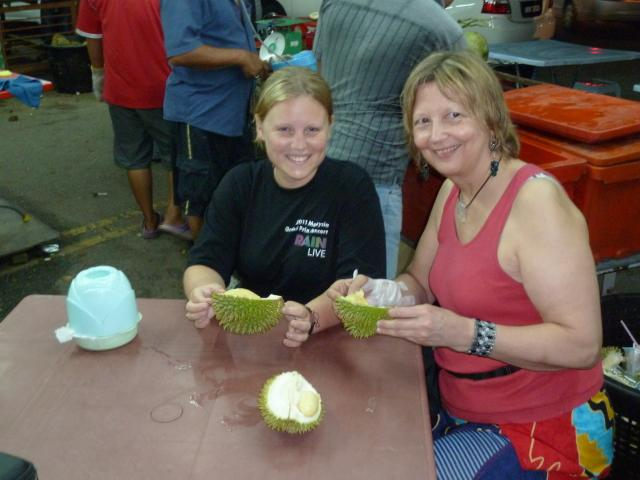 Charly and Eva enjoying some Durian