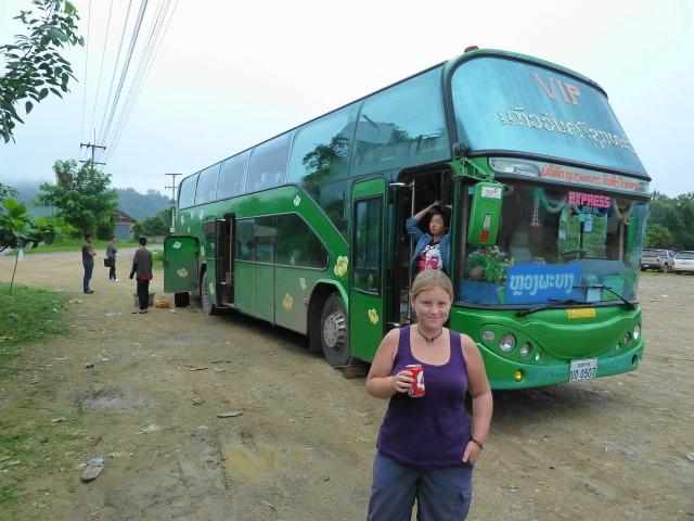 Me stood by our broken-down bus