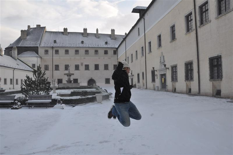Jumping in snowy Slovakia
