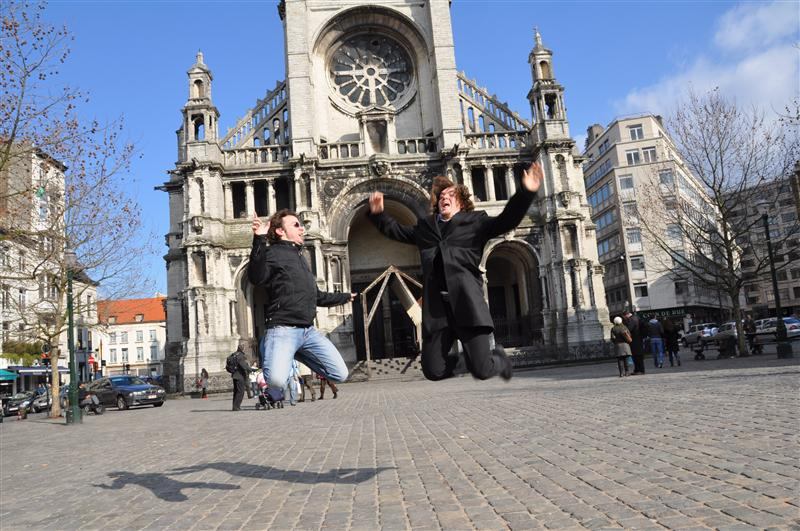 Jumping in front of Saint Catherine Church