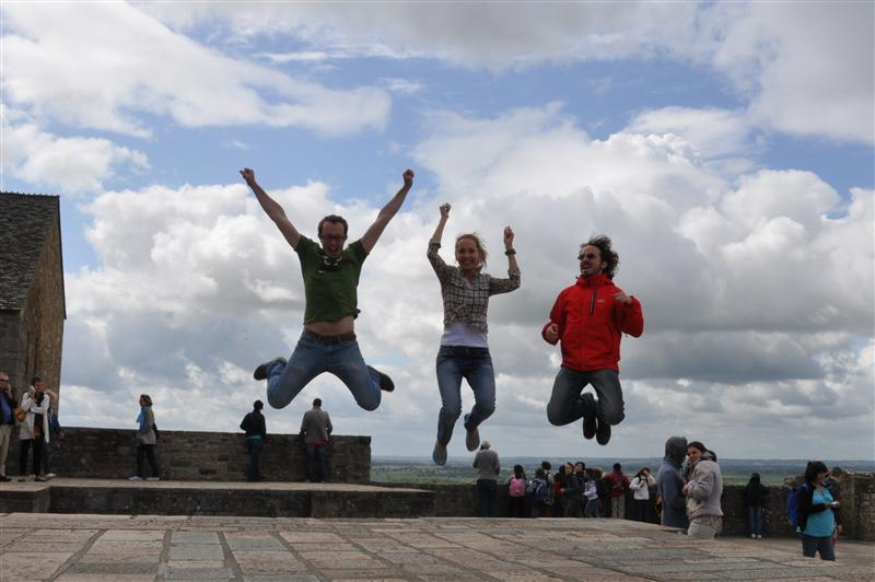 Jumping in le Mont Saint Michel