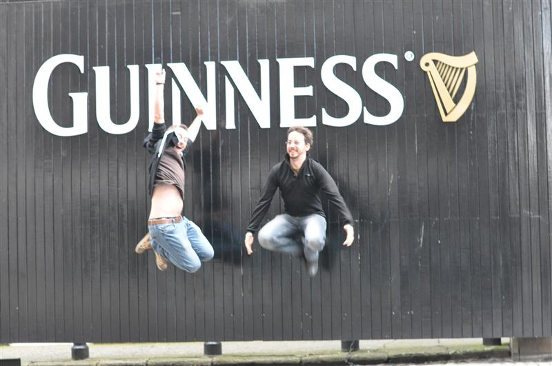 Jumping in front of Guiness Brewery