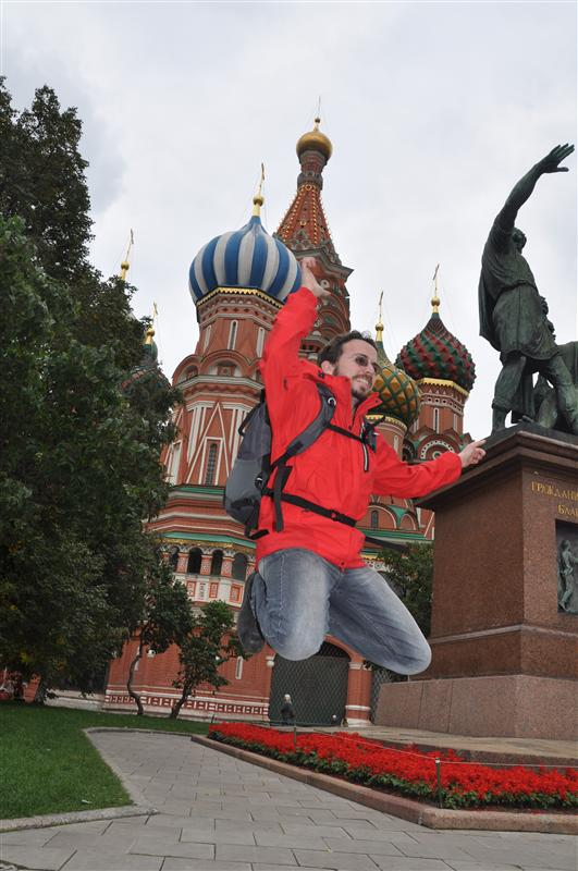 Jumping in front of Basil's Cathedral