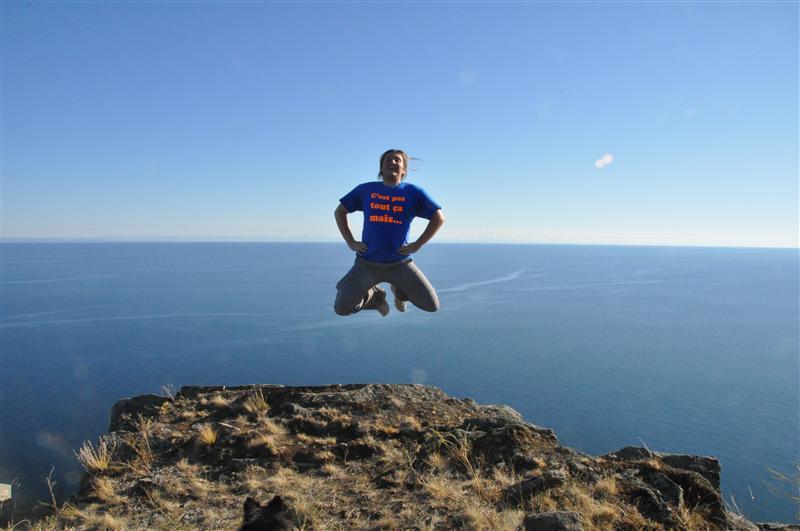 Sylvain jumping on lake Baïkal