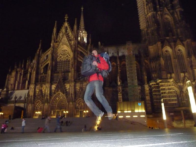 Jumping in Front of Cologne's Cathedral