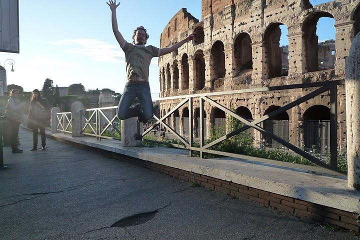 Juming in front of the Coliseum