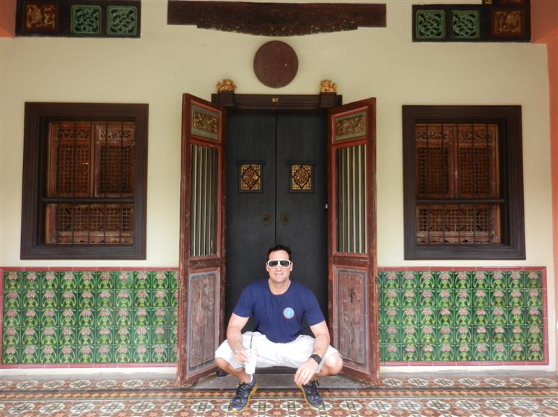 Kris in Phuket Town - I liked the tiles :)