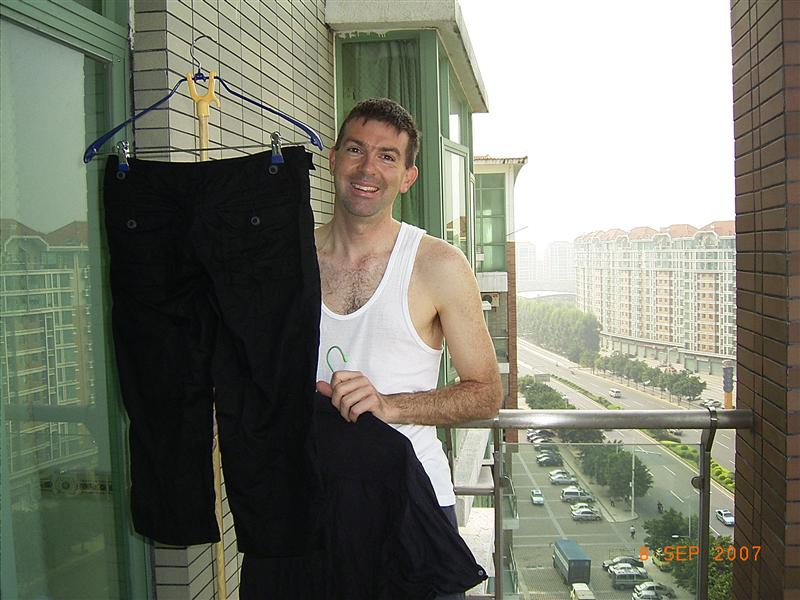 Andrew hanging out the washing