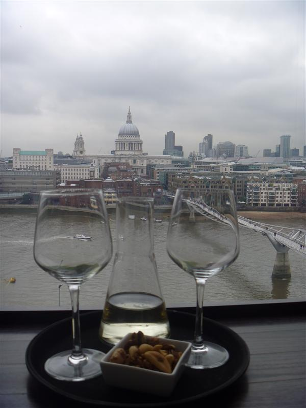 Afternoon drinks at the Tate Modern, overlooking St Pauls