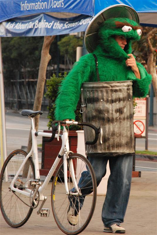 green Trick or treater on wheels