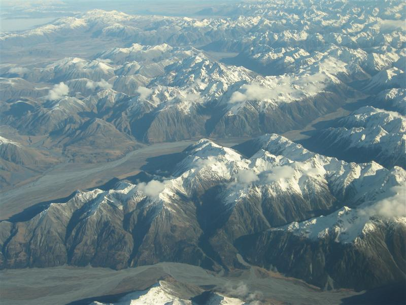 View of the Southern Alps from the plane