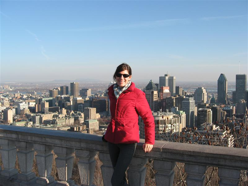 Angela in front of downtown Montreal