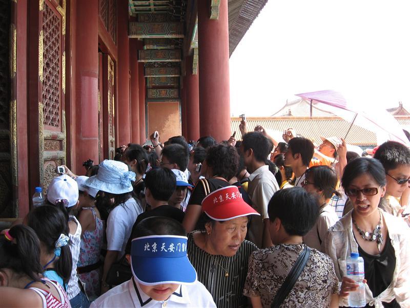 A scrum outside a palace entrance