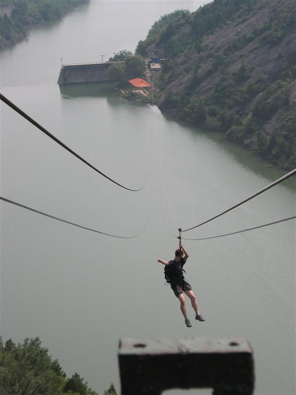 Zip-slide to the bottom, from the Great Wall