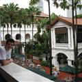 Ollie in the Raffles hotel, shortly after the monsoon stopped.