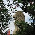 A fake merlion amongst the Sentosan trees