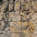 One of the several hundred scenes from Buddhist tales carved into Borobudur