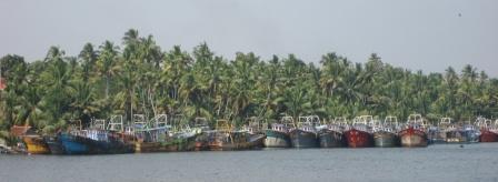Fischerboote und Palmenwälder so sieht es fast überall in den Backwaters aus