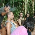 Participant being healed by shaman prior to ayahuasca ceremonies