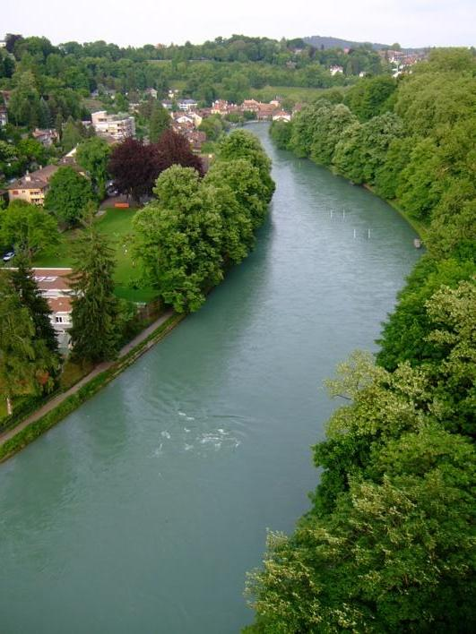 Aare river that runs through Bern