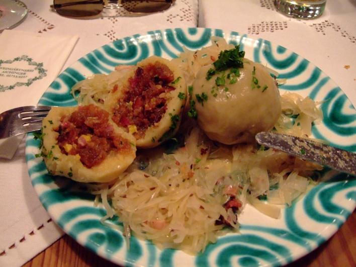 typical Austrian dumplings with meat/bacon fillings