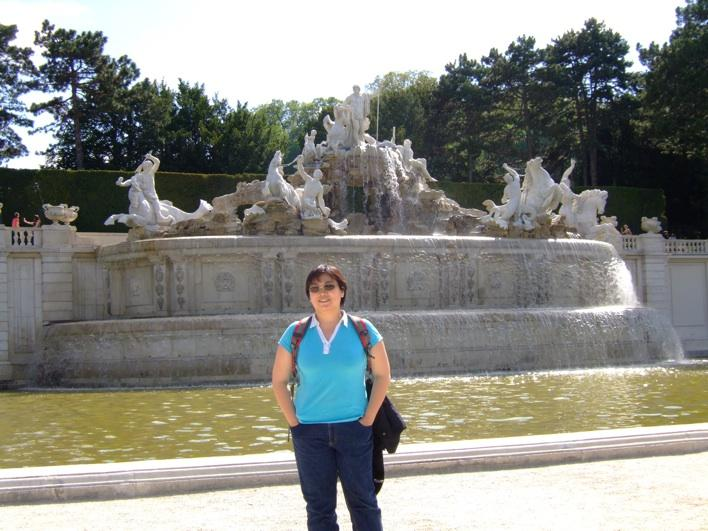 at a fountain in Scho¨nbrunn Palace Park