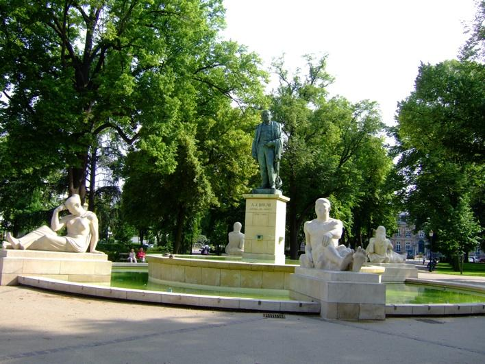 Bruat Fountain in a park near train station