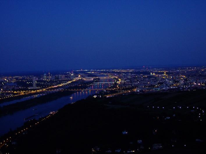 Vienna at night - view fr Leopoldsberg