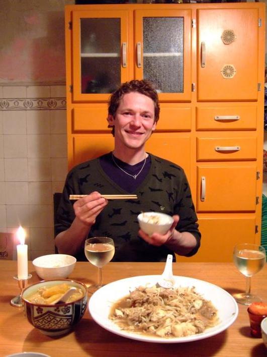 Seth enjoying our dinner