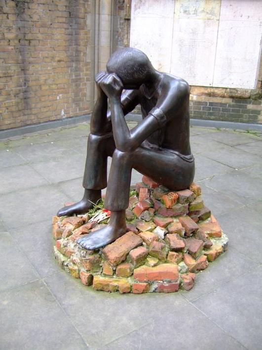 "statue ""The Ordeal"" at St Nikolai"